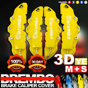 4x Yellow 3d Brake Caliper Covers Style Disc Universal Car Front Rear Kits Cy01