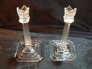 Fancy Art Deco Reeded Column Capitol And Crown 8 3 8 Thick Glass Candlesticks