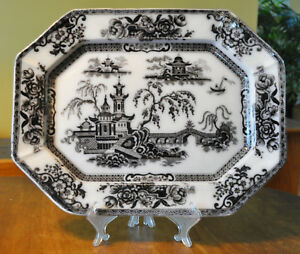 Lovely Antique Flow Mulberry Ironstone Platter Challinor Pelew Staffordshire 16