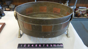 Vintage Copper And Brass Plant Pot Tub Planter With Feet