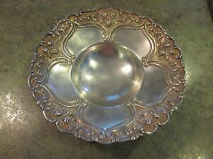Sterling Silver Chased Footed Scalloped Rose Flowers Center Piece Bowl Dish 248g