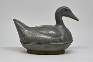 Antique Chinese Export Hong Kong Pewter Duck Trinket 3 75 X 4 25 Inches