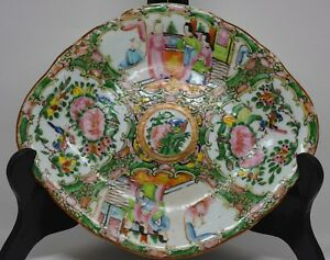 Antique Chinese Rose Medallion Footed Dish 10 X 8 5 X 1 5 Inches Unmarked
