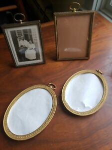 Vintage Small Metal Picture Frames Lot Of 4