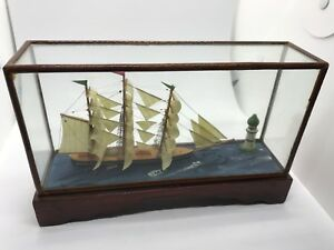 Rare Antique Nautical Ship Model And Lighthouse In A Shadow Box Museum Quality