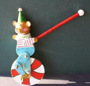 Mechanical Bear On A Wheel Push Toy Colorful And Works Great Vintage Wooden Neat