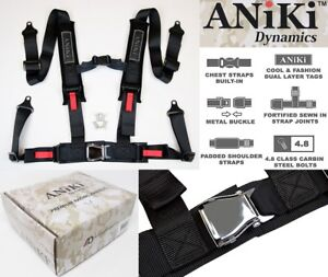 2x Aniki Black 4 Point Aircraft Buckle Seat Belt Harness W Ultra Shoulder Pad