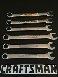 New Craftsman 6pc Silver Finished Combination Wrench Set Metric