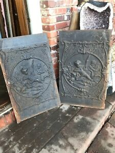Antique Cast Iron Fireback With Children And Duck And Turtle21 5 X 35 2 Avail