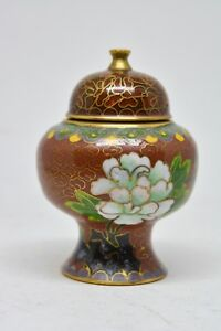 Vintage Chinese Miniature Cloisonn Vase 2 5 Inches Tall
