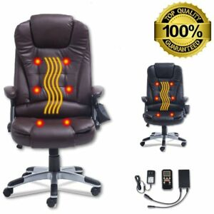 Black Heated Executive 6 Point Massage Chair Vibrating Ergonomic Office Chair