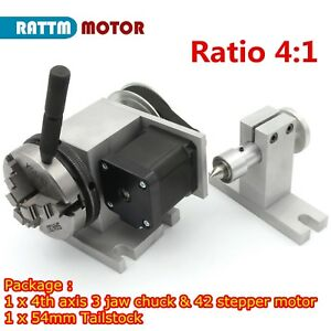 Rotary Table 4th Axis 3 Jaw 65mm Chuck 54mm Tailstock For Cnc Router Machine