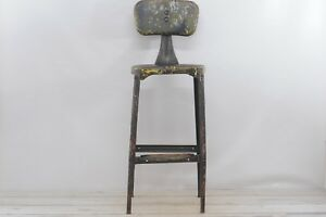 Antique Vintage Industrial Stool Art Deco Design Features Bar Height Stool