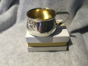 Beautiful Vintage Sterling Silver Baby Mug Cup Goldtone Wash Inside Signed