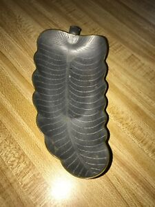 Antique Chinese Pewter Engraved Leaf Shaped Dish With Broken Jade Handle