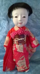 Vtg 20 S 30 S Japanese Gofun Ichimatsu Girl Doll 13 H Glass Eyes Vg Cond