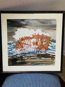 Vintage Original Watercolor Painting Wreck Of The Peter Iredale Shipwreck Oregon