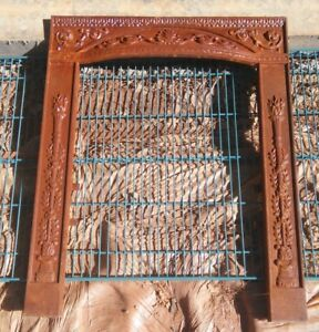 Vintage Architectural Cast Iron Fireplace Surround Frame Ornate Salvage