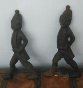 Vintage American Revolution Hessian Soldiers Cast Iron Fireplace Andirons