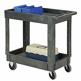 Plastic 2 Shelf Tray Service Utility Cart 34 X 17 5 Rubber Casters Lot Of 1