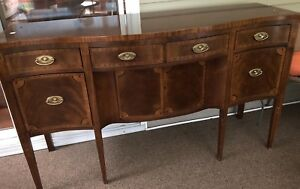 Antique Inlaid Art Deco Sideboard Buffet Bar Server Gorgeous Hard To Find 66