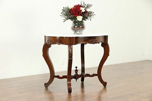 Victorian Antique Carved Mahogany Marble Turtle Top Lamp Or Hall Table 30469