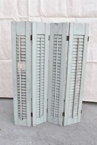 Antique 4 Interior Folding Louvered Window Shutters Painted Green W Hinges 06407
