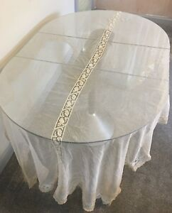 Antique Lace Throw Silk Veil Table Cloth Tambour Embroidered Cream French Bridal