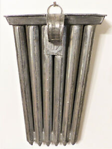 Antique 19th C Tin Hanging 12 Tube Candle Mold Early Lighting Peg Rack 1