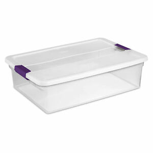 Sterilite 17551706 Clearview Storage Box With Latched Lid 32 Qt 23 5 8 l X