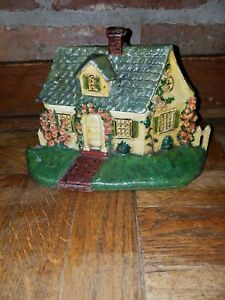 Vtg National Foundry 32 Cast Iron Cape Cod Cottage House Doorstop Orig Paint