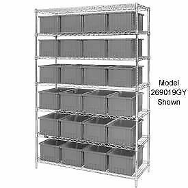 Wire Shelving With 36 6 h Grid Container Gray 48x18x74 Lot Of 1