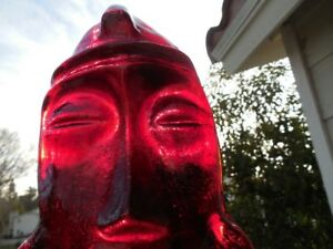 Beautiful Vintage Red Glass Tiki Mask 9 X 5 5 8 Excellent