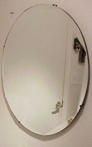 Antique Art Deco 22 Round Heavy Octagon Cut Beveled Glass Edge Wall Mirror