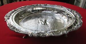 Baroque Pattern 13 1 2 Dia Etched Footed Bowl Platter By Wallace Silver Plate