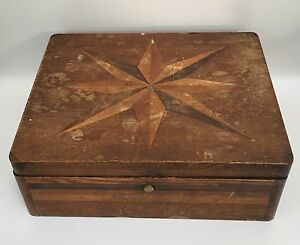 Antique Early American Wooden Sewing Box Hand Crafted Starburst Lid Rf519