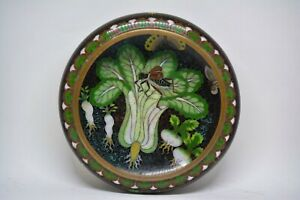 Antique Chinese Cloisonne Large Bok Choy Bowl 8 Inches Wide Rare