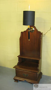 Willett Solid Cherry Step Style High Back Lamp Sconce End Table Original Shade