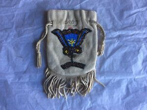 Antique Native American Indian Bead Work Bag Pouch