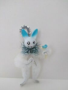Easter Bunny Vintage Style Folk Art Chenille Feather Tree Ornament