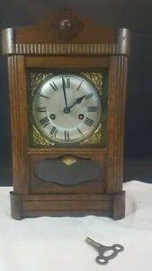 Antique English Made Mechanical Wood Cased Mantle Clock In Working Order