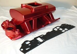 Red Fabricated Aluminum High Ram 4150 Intake Manifold Small Block Chevy 350 400