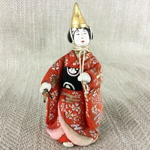 Vintage Japanese Doll Figure Empress Girl Gofun Clay Silk Nihon Ningyo