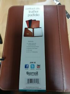 Samsill Contrast Stitch Leather Padfolio 8 5 x11 Writing Pad Included Brown
