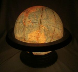 Rare Vintage Time Life Lighted Replogie World Globe Unique Air Travel Time Base