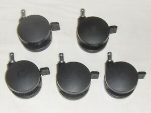 5 Heavy Duty 3 Locking Casters Wheels Replacement Black Office Computer Chair