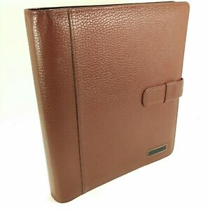 Daytimer Brown Leather Folio Binder Planner Organizer Franklin Covey Monarch