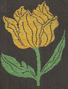 Vintage Tobacco Cigarette Embroidery Silk Use In Crazy Quilt Yellow Tulip Flower