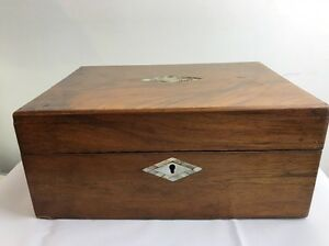 Victorian Antique Walnut Mother Pearl Inlayed Jewellery Sewing Wooden Box No Key