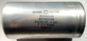 Ge 5v 100000uf Large Can Electrolytic Capacitor Screw Term General Electric